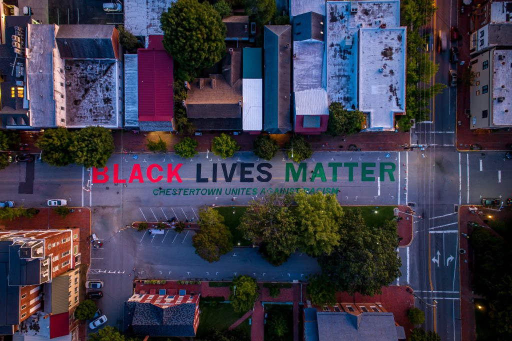 """Black Lives Matter"" and ""We Can't Breathe"" Street Murals painted on High Street"